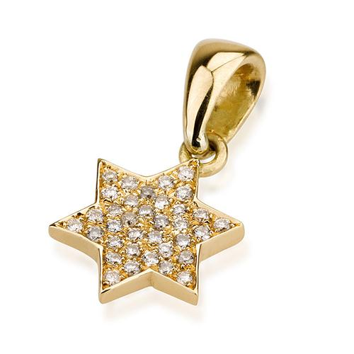 18k Gold Diamond Mini Star of David Pendant - Baltinester Jewelry
