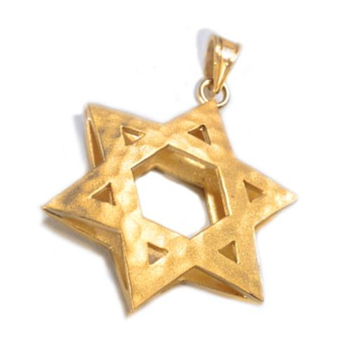 14k Gold 3D Reversible Star of David Pendant 2 - Baltinester Jewelry
