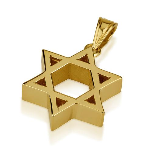 14k Gold Heavyweight Small Star of David Pendant - Baltinester Jewelry