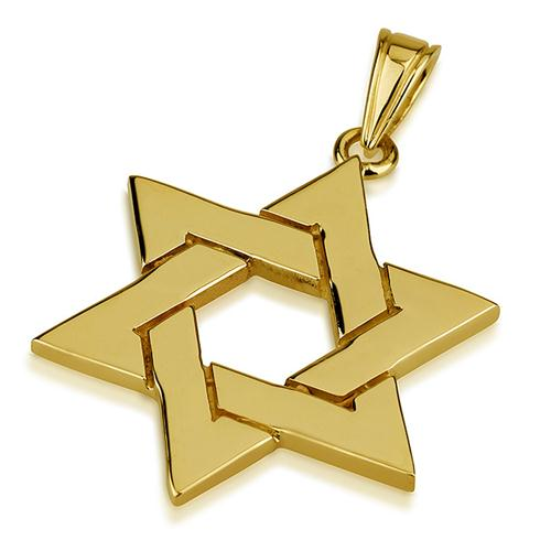 14k Gold Large Interwoven Star of David Pendant - Baltinester Jewelry