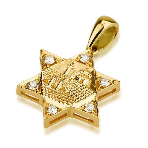 14k Gold Jerusalem Diamond Thick Star of David Pendant - Baltinester Jewelry