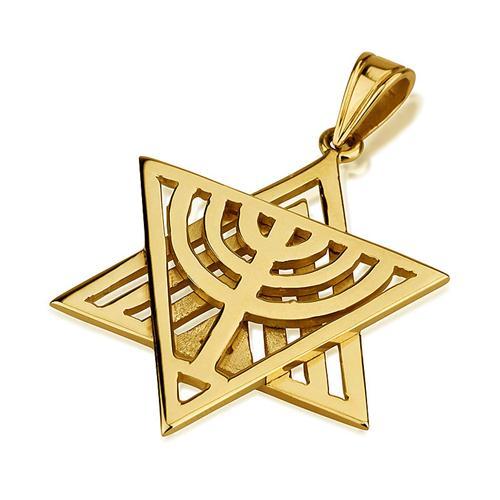 14k Gold Dual Layer Menorah Star of David Pendant - Baltinester Jewelry