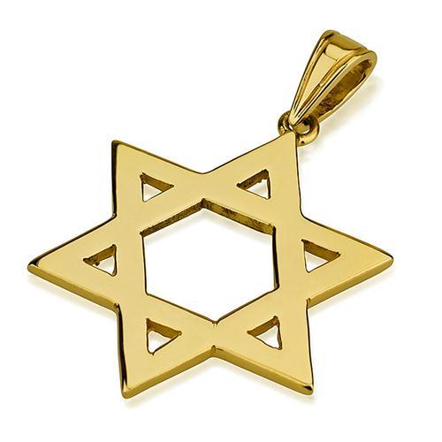 14k Gold Classic Flat Star of David Pendant - Baltinester Jewelry