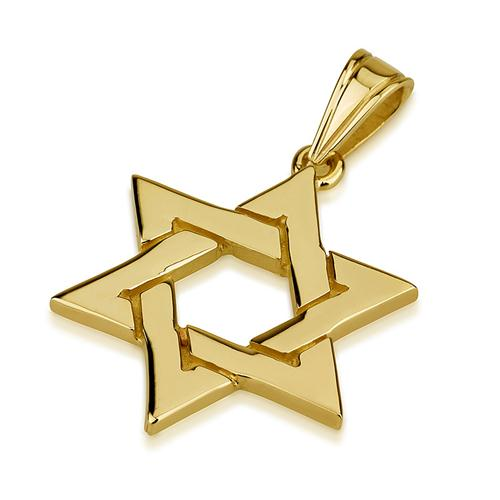 14k Gold Intertwined Star of David Pendant - Baltinester Jewelry