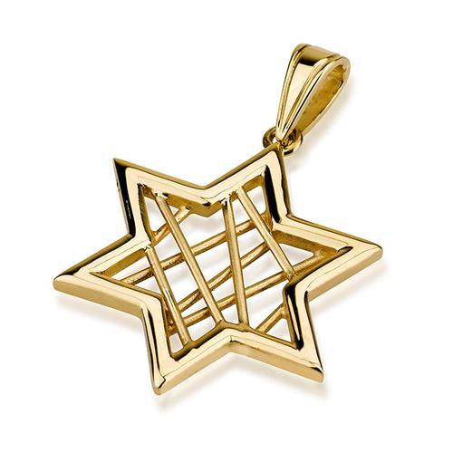 14k Gold Modern Wired Star of David Pendant - Baltinester Jewelry