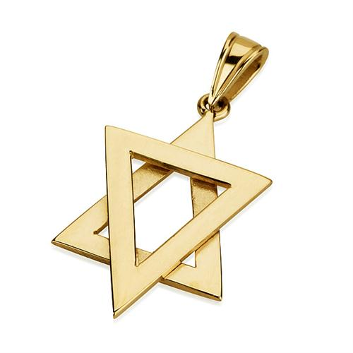 14K Gold Modern Star of David Pendant - Baltinester Jewelry