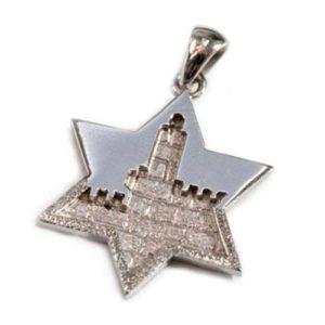 14k White Gold Jerusalem Star of David Pendant - Baltinester Jewelry