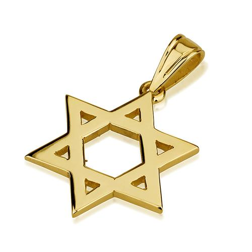 14k Gold Smooth Star of David Pendant - Baltinester Jewelry