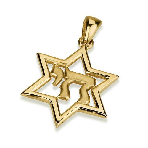 14K Gold Chai Star of David Pendant - Baltinester Jewelry