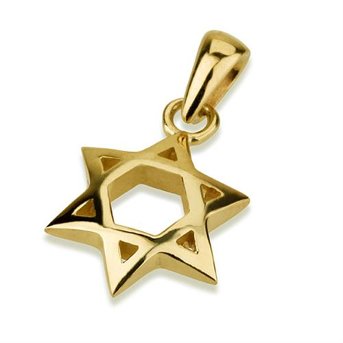 14K Gold Curved 3D Star of David Pendant - Baltinester Jewelry