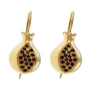 14k Gold Pomegranate Garnet Earrings - Baltinester Jewelry