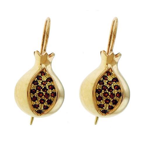 14k Gold Pomegranate Garnet Earrings - Baltinester Jewelry