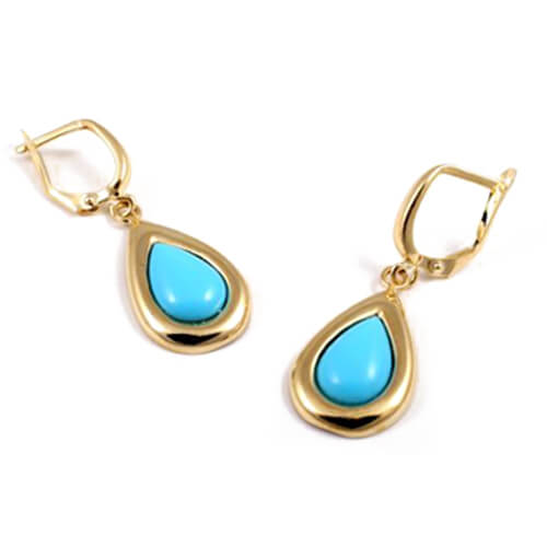 14k Gold Teardrop Turquoise Earrings - Baltinester Jewelry