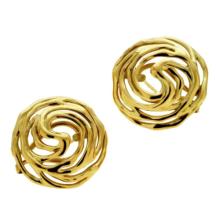 14k Gold Large Modern Filigree Earrings - Baltinester Jewelry