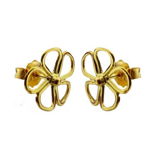 18K Gold Flower Earrings - Baltinester Jewelry