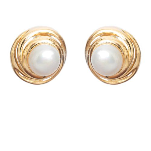 14k Gold & White Pearl Earrings - Baltinester Jewelry