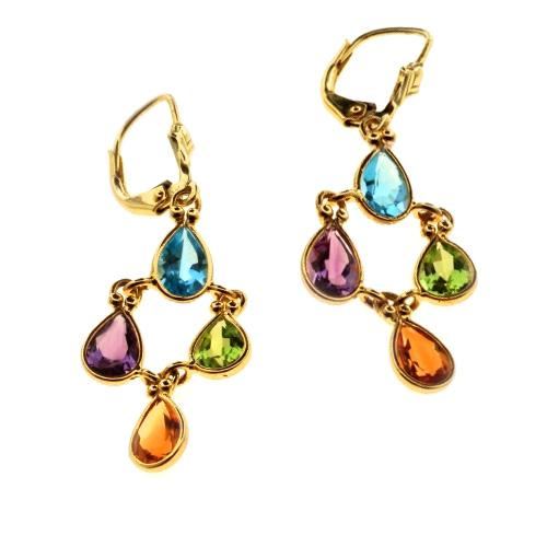 14k Gold Multicolored Stone Earrings - Baltinester Jewelry