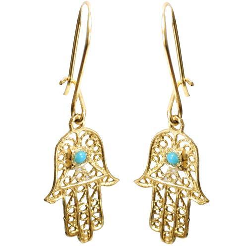 14k Gold Hamsa Earrings - Baltinester Jewelry