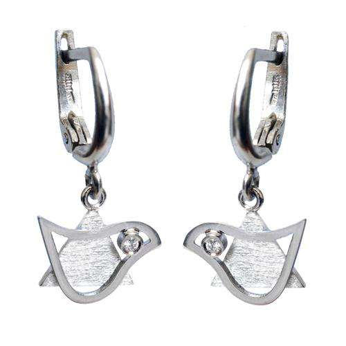 14k Gold Diamond Star of David and Dove Earrings - White Gold - Baltinester Jewelry
