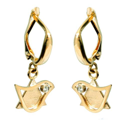 14k Gold Diamond Star of David and Dove Earrings - Yellow Gold - Baltinester Jewelry