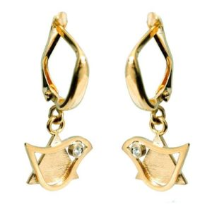 14k Gold Diamond Star of David and Dove Earrings - Baltinester Jewelry