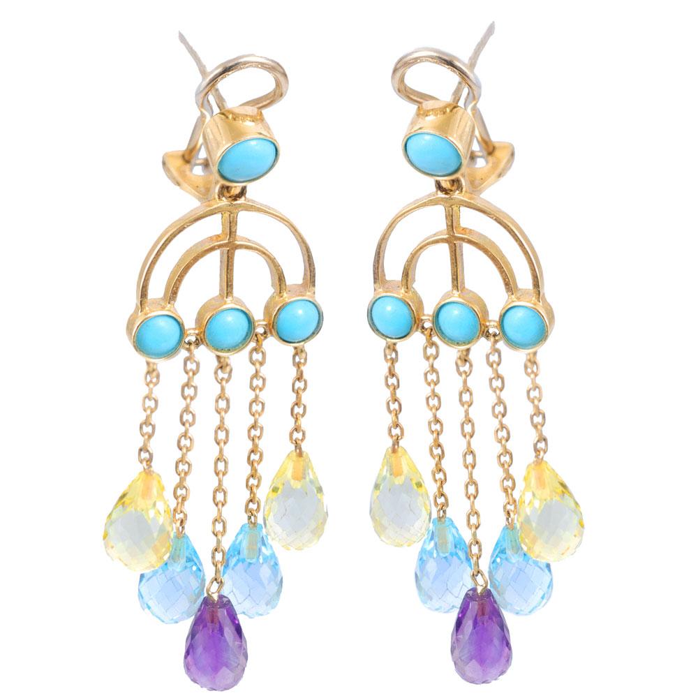 14k Gold Menorah Chandelier Earrings - Baltinester Jewelry