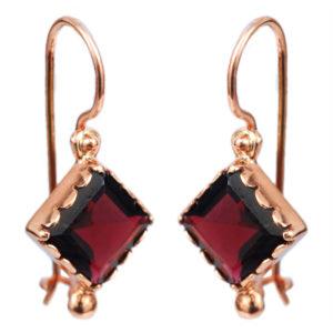 14k Rose Gold Garnet Earrings - Baltinester Jewelry