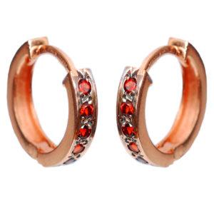 14k Rose Gold & Garnet Reversible Hoop Earrings - Baltinester Jewelry