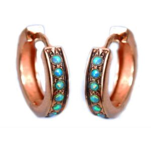 14k Rose Gold and Opal Reversable Hoop Earrings - Baltinester Jewelry