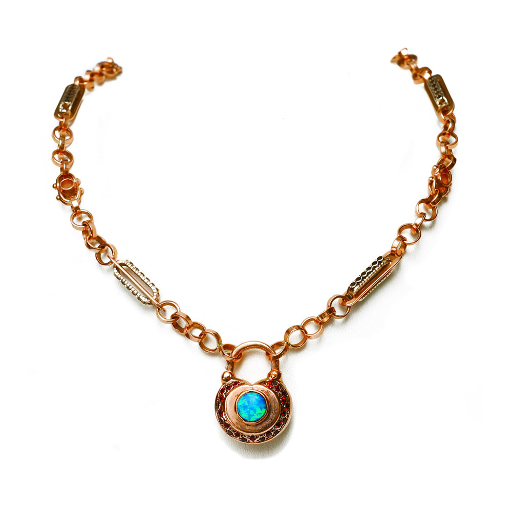 14k Rose Gold Opal and Garnet Necklace - Baltinester Jewelry
