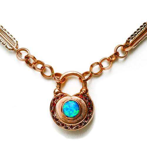 14k Rose Gold Opal and Garnet Necklace 2 - Baltinester Jewelry