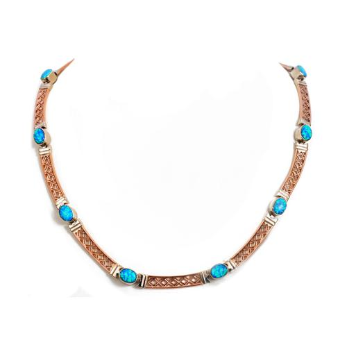 14k Rose and White Gold Opal Necklace - Baltinester Jewelry