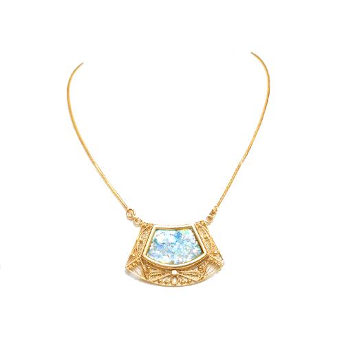 14k Roman Glass Trapezoid Gold Filigree Necklace - Baltinester Jewelry