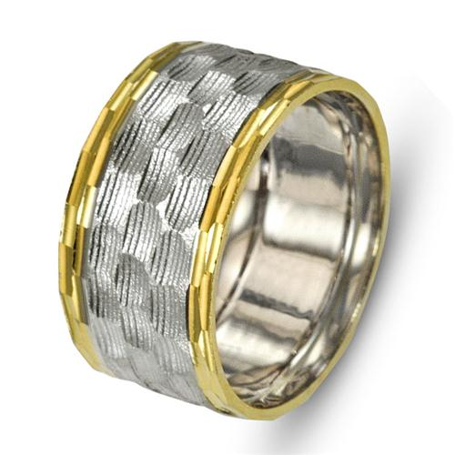 Two Tone 14k Gold Hammered Wedding Ring - Baltinester Jewelry
