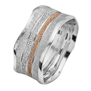 White and Rose Gold Striped Wavy Wedding Ring - Baltinester Jewelry