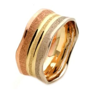 14k Tri-Color Gold Florentine Wedding Ring - Baltinester Jewelry