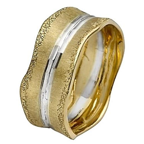 14k Gold Diamond-Cut Stripes Wavy Wedding Ring - Baltinester Jewelry
