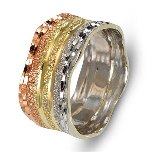 Tricolor 14k Gold Diamond-Cut Faceted Wedding Ring - Baltinester Jewelry