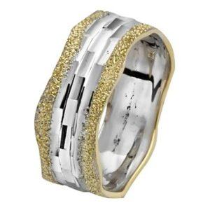 Yellow and White Gold Diamond-Cut Wavy Wedding Ring - Baltinester Jewelry