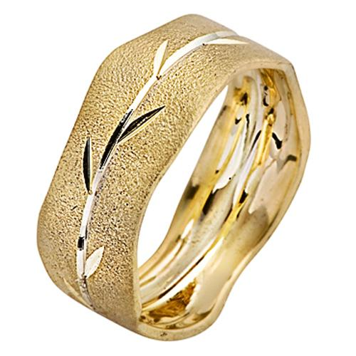 Yellow and White Brushed Gold Wavy Leaf Wedding Ring - Baltinester Jewelry