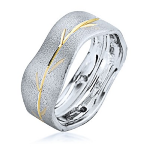 White and Yellow Brushed Gold Wavy Branch Wedding Ring - Baltinester Jewelry