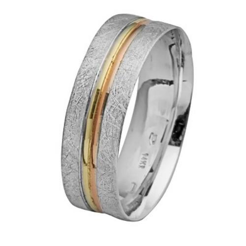 14k White Gold Brushed Stripes Wedding Ring - Baltinester Jewelry