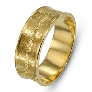 14k Gold Wire Brushed Stardust Wedding Ring - Baltinester Jewelry