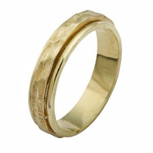 14k Yellow Gold Hammered Spinning Ring - Baltinester Jewelry