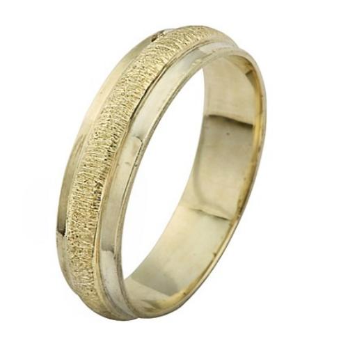 14k Yellow Gold Ring Raised Brushed Finish - Baltinester Jewelry
