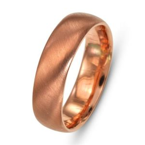 14k Rose Gold Brushed Comfort Fit Wedding Band - Baltinester Jewelry