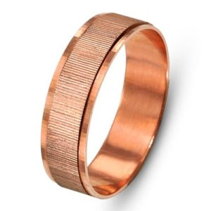 14k Rose Gold Ribbed Wedding Ring - Baltinester Jewelry