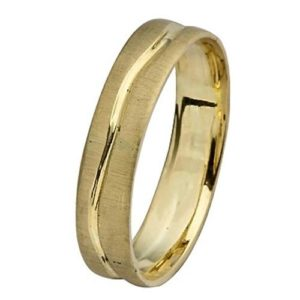 14k Brushed Gold Wave Wedding Ring - Baltinester Jewelry