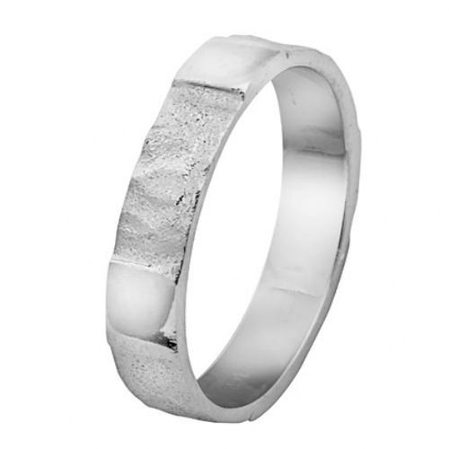 14k White Gold Hammered Wedding Ring - Baltinester Jewelry