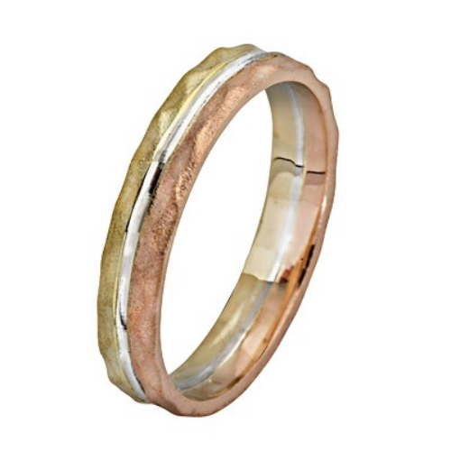 Tri-Color 14K Gold Hammered Stripes Wedding Ring - Baltinester Jewelry